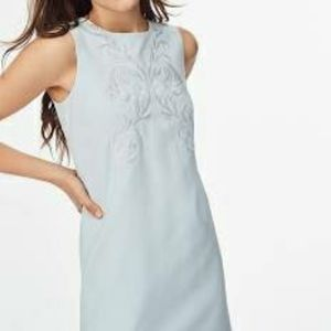 Brooks Brothers blue embroidered silk shift dress